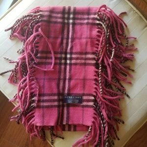Pink Plaid Check Fringe Burberry Cashmere Scarf